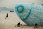 2 giant fish made of recycled botttles in rio
