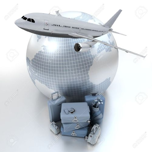 11727562-A-flying-plane-the-Earth-and-a-pile-of-luxurious-luggage-rendered-in-blue-shades-Stock-Photo