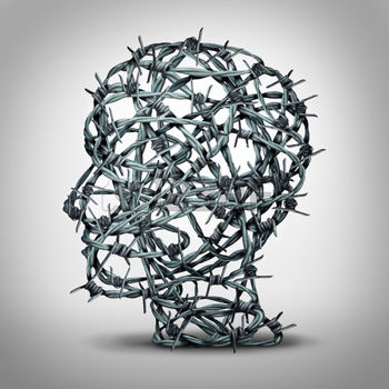 44492831-tortured-thinking-and-depression-concept-as-a-group-of-tangled-barbwire-or-barbed-wire-fence-shaped-